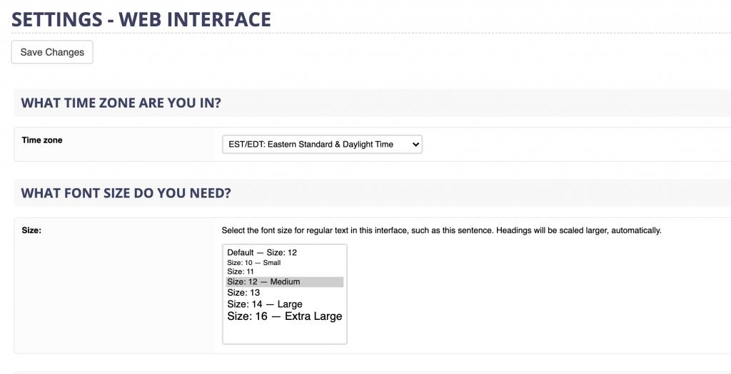 webmail font settings